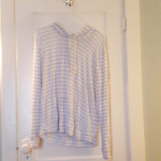 Brandy Melville Blue & White Striped Hoodie