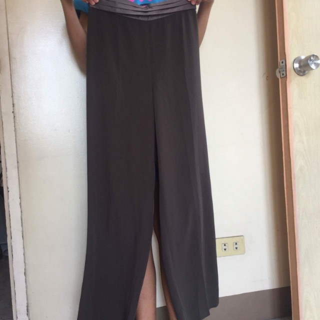 Brown Square long palazzo pants with satin design