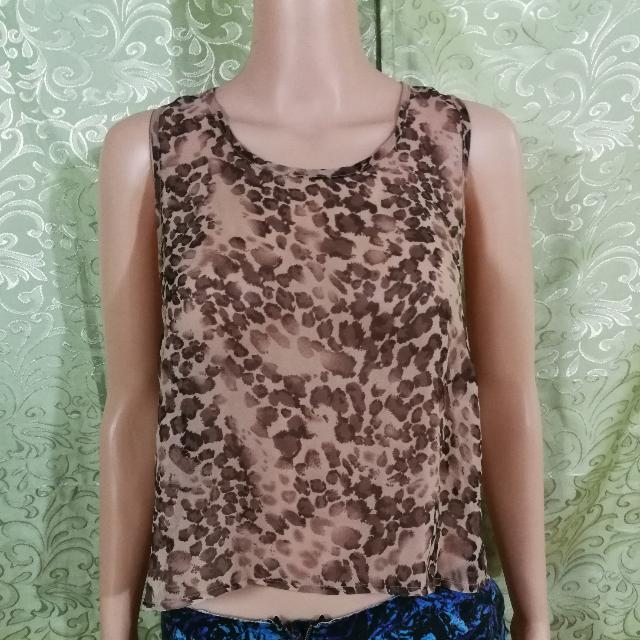 Chicabooti Leopard Sheer Top