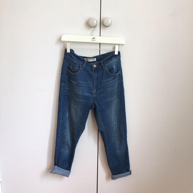 COUNTRY ROAD Boyfriend Blue Denim Ripped Jeans 8-10