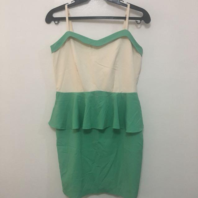 Cream and mint green peplum dress