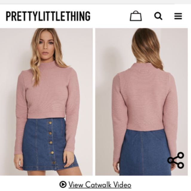 Cropped Knitted Sweater Pretty Little Thing