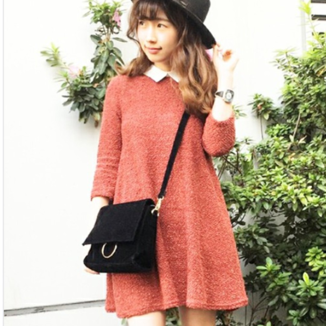 DAZZLIN特殊毛料學院風七分袖連身洋裝 紅