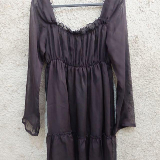 Dress hitam transparan midi karet