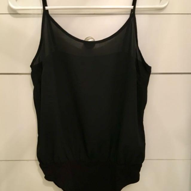 F21 contemporary black bodysuit
