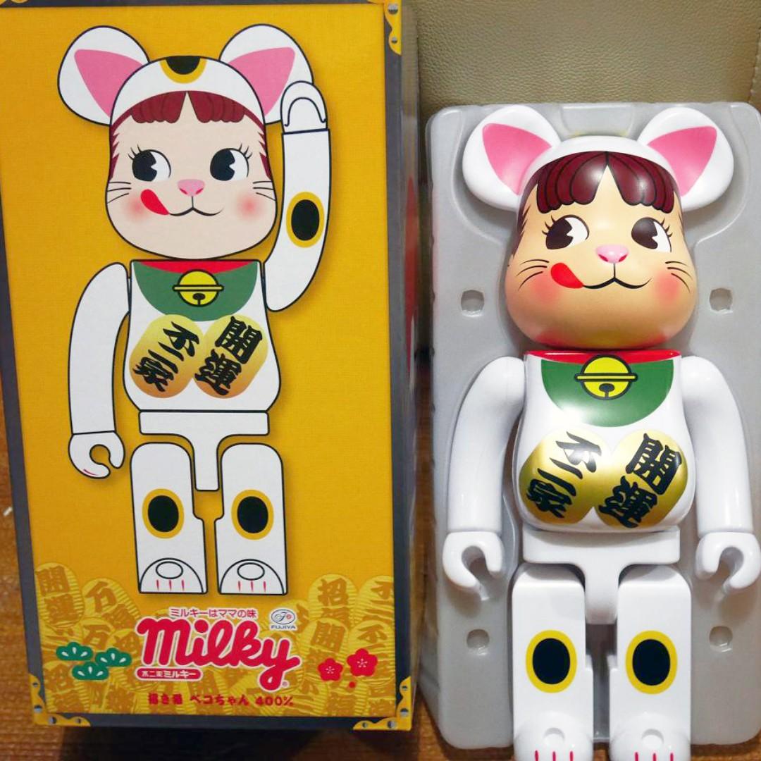 Family Town x Medicom Toy 第3彈 Milky Peko 不二家 牛奶妹 100% & 400% Bearbrick Set