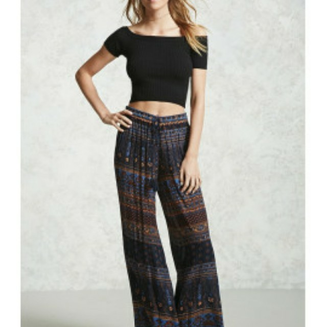 Forever 21 Abstract Print Wide-Leg Pants
