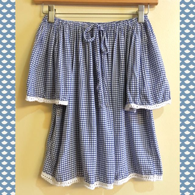Gingham Pattern (blue) with white trim Off shoulder top