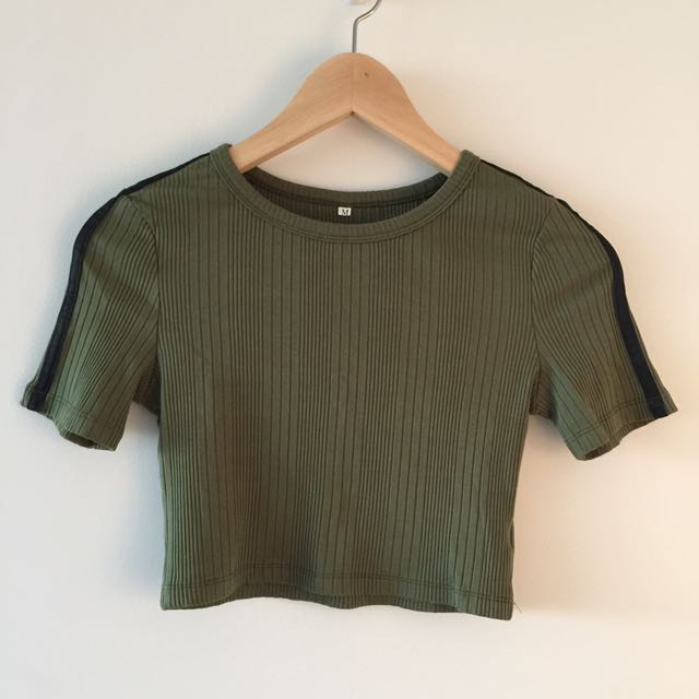 Green Army Crop Top