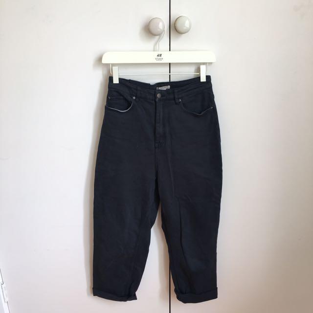 H&M Navy Boyfriend Wide Leg Jeans 6