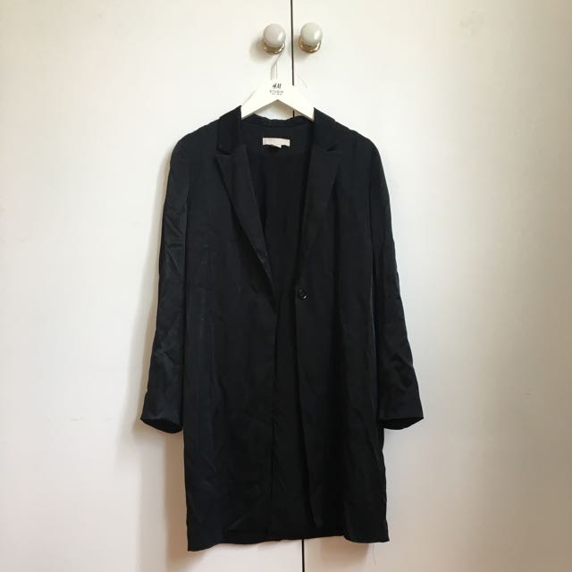 H&M Silky Black Midi Coat Jacket XS -S
