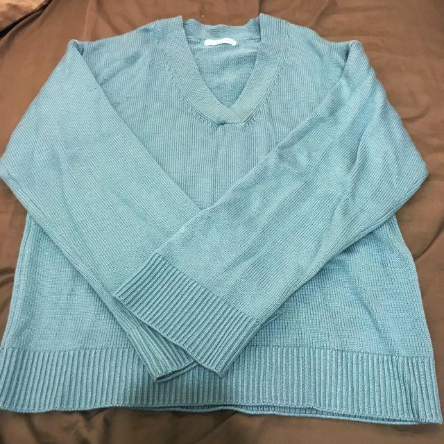 《二手》Hong葒 V領針織水藍色寬袖上衣
