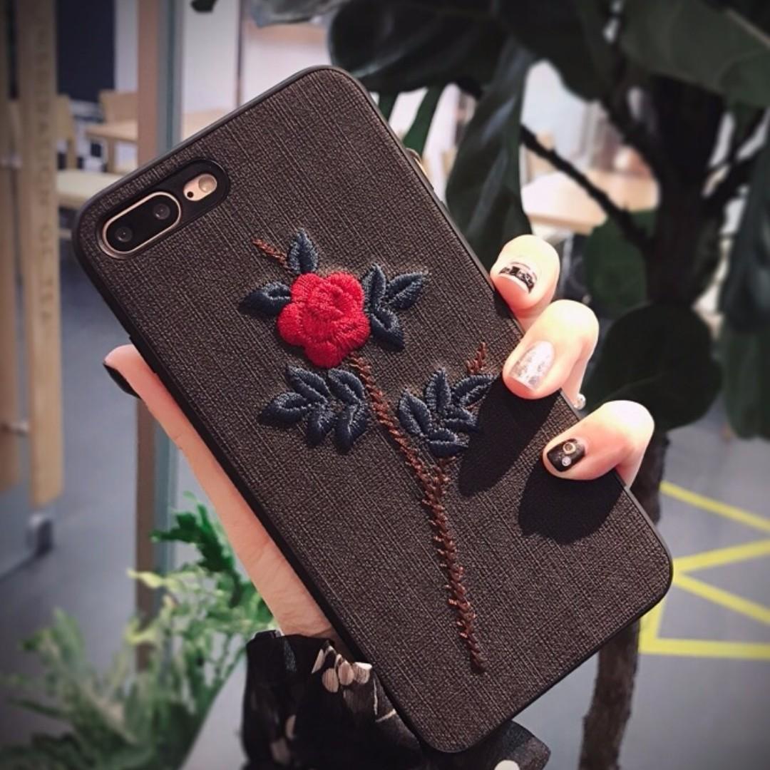 Iphone玫瑰刺繡手機殼