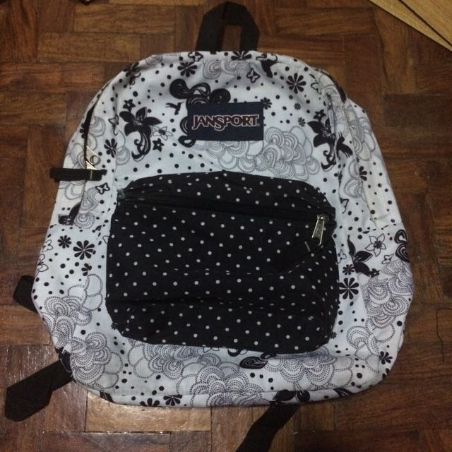 Jansport Backpack Bag Pack Black And White FREE DELIVERY