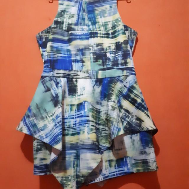 Jumpsuit abstrak blue