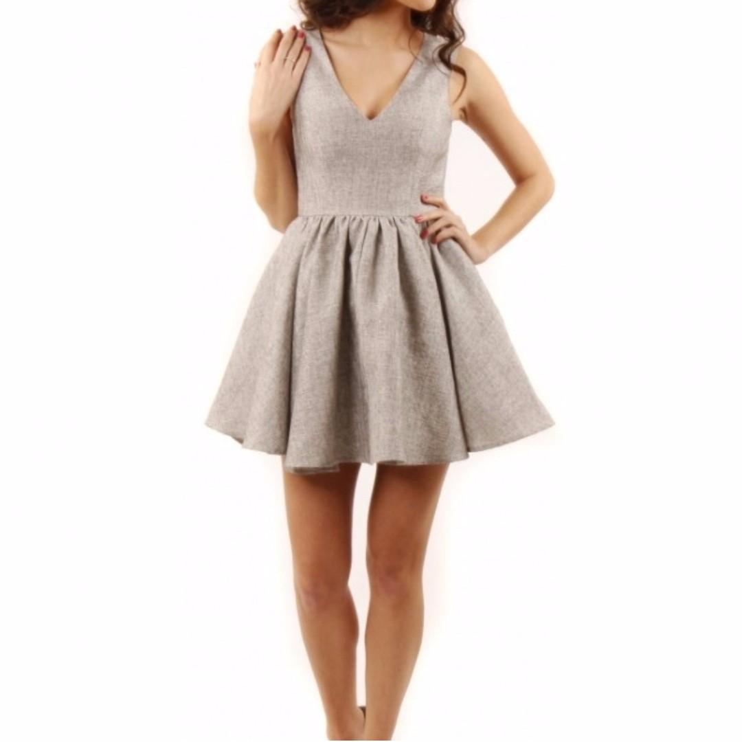 Keepsake Silver Grey Tweed Jacquard Jane Skater Dress 6