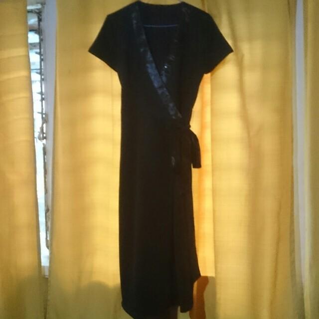 Tailored black wrap dress