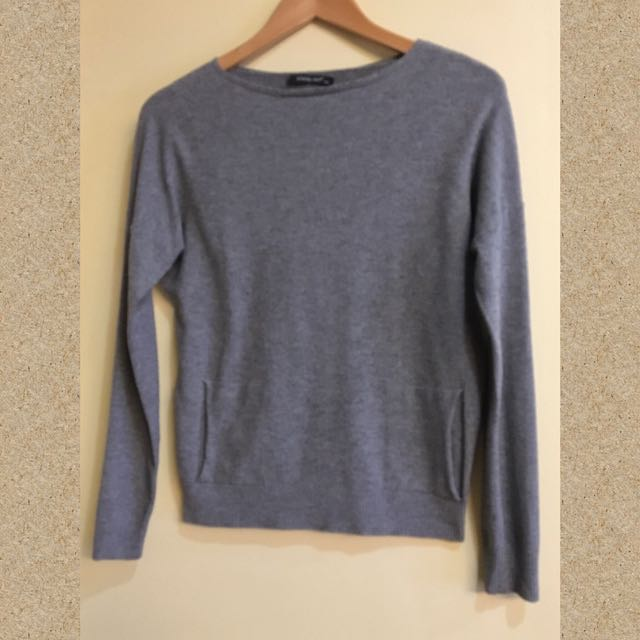 Louise Orop Mid Deep Gray Pullover Blouse with Dual Front Pockets (S/M)
