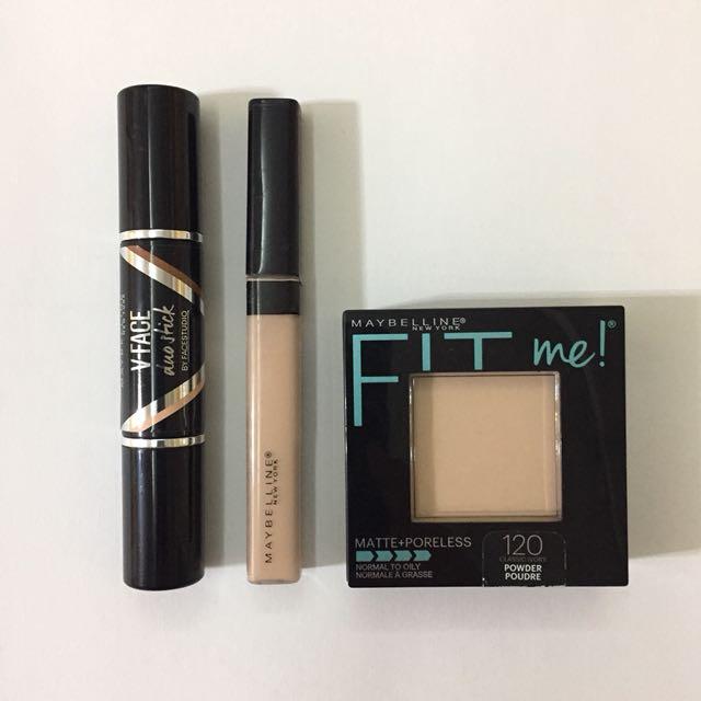 Maybelline Fit Me Matte + Poreless. Maybelline Fit Me Concealer. Maybelline V Face Duo Stick.