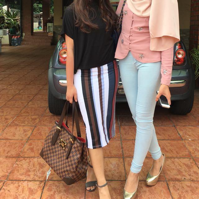 Monki Bodycon Stripes Midi Skirt