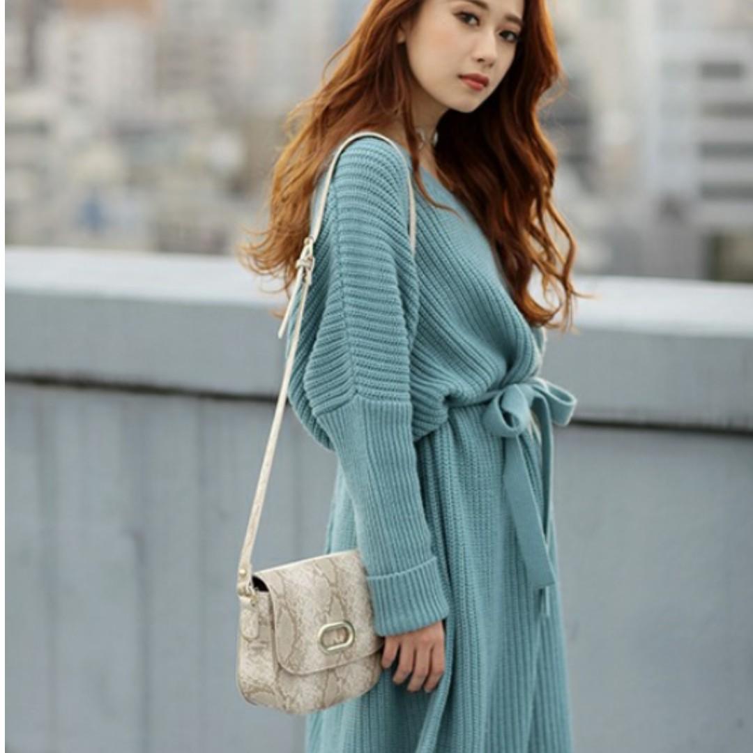 murua 藍綠色 毛衣 洋裝 連身裙