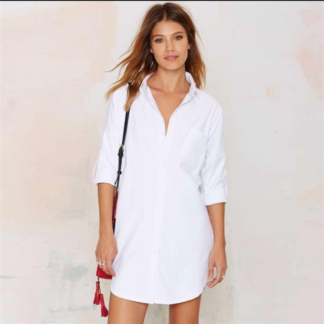 35eb6328512125 Nastygal White Boyfriend Shirt Dress, Women's Fashion, Clothes, Dresses &  Skirts on Carousell
