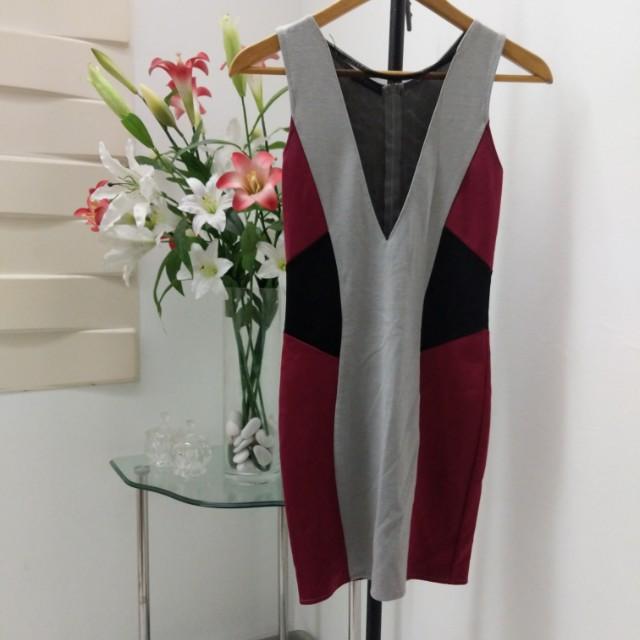 New plunge mesh colourblock dress