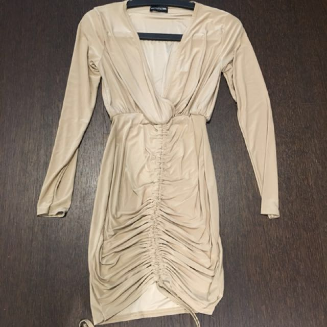 nude plunge ruched front bodycon dress