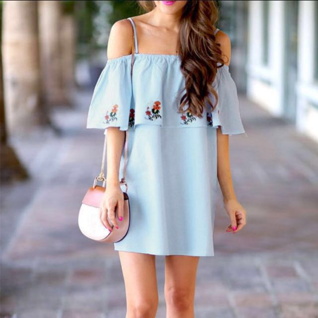 Off Shoulder Flare Sleeve Dress