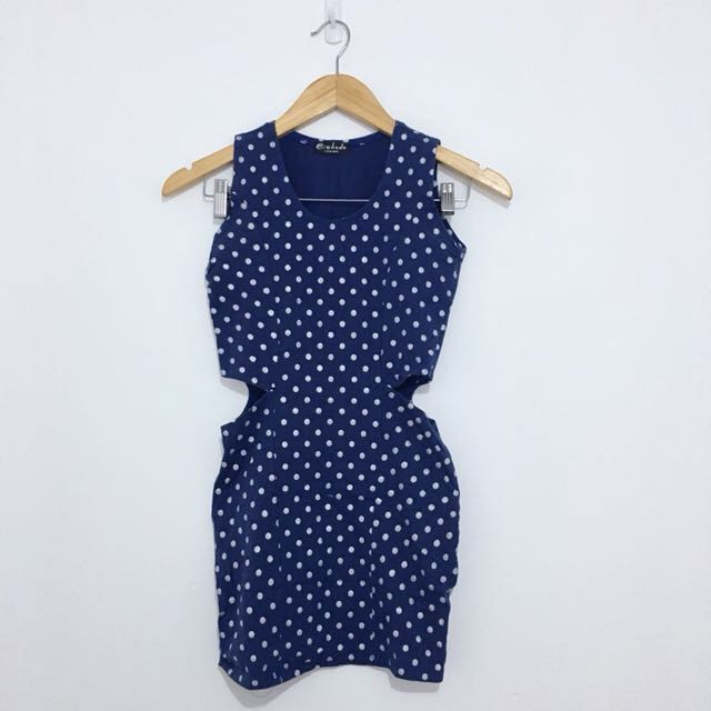Polka Dot Cutout Body Con Dress