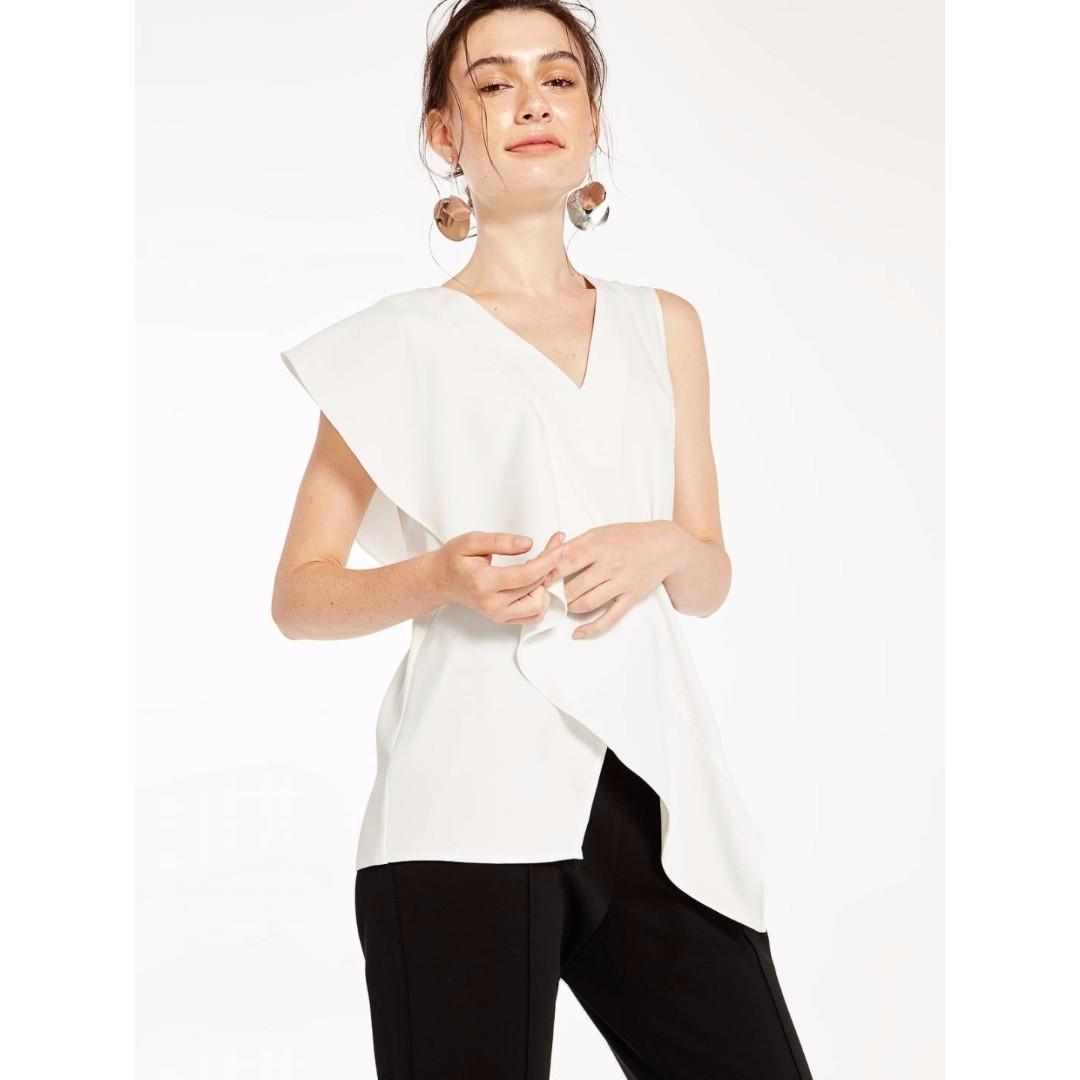 fac1ae71b39 Pomelo Fashion Penelopy Ruffle Tank Top - White, Women's Fashion, Clothes,  Tops on Carousell