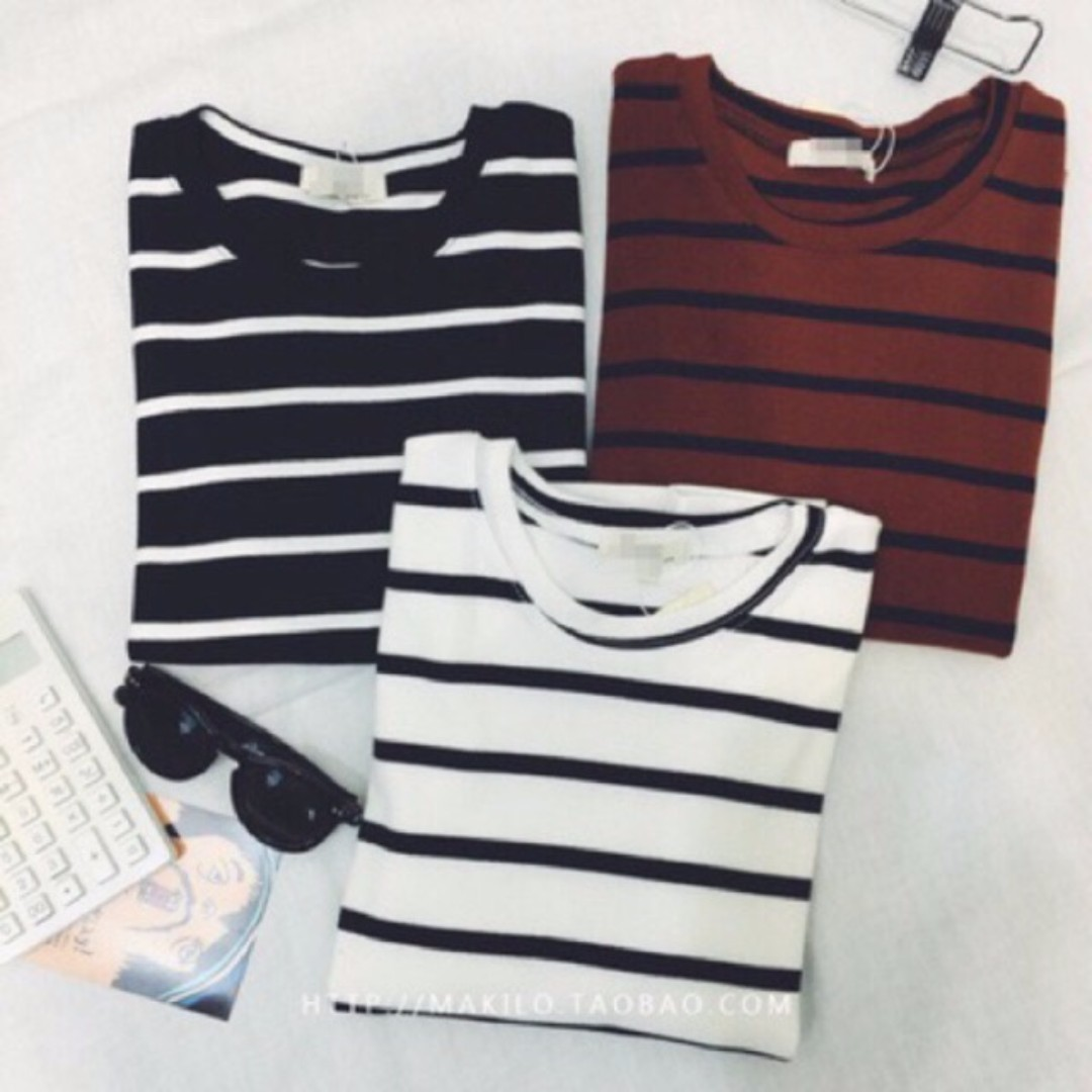 [READY STOCK] Korean Striped Tee