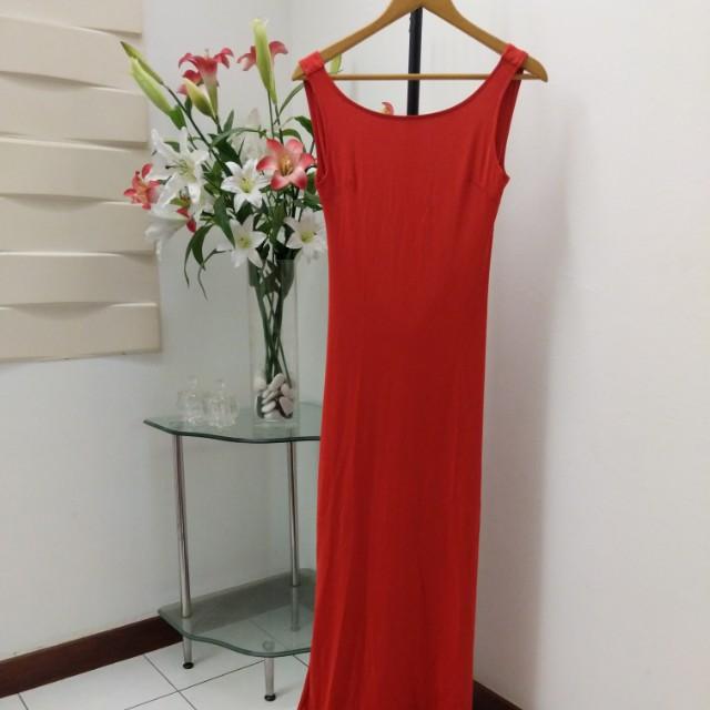 Red bareback dress