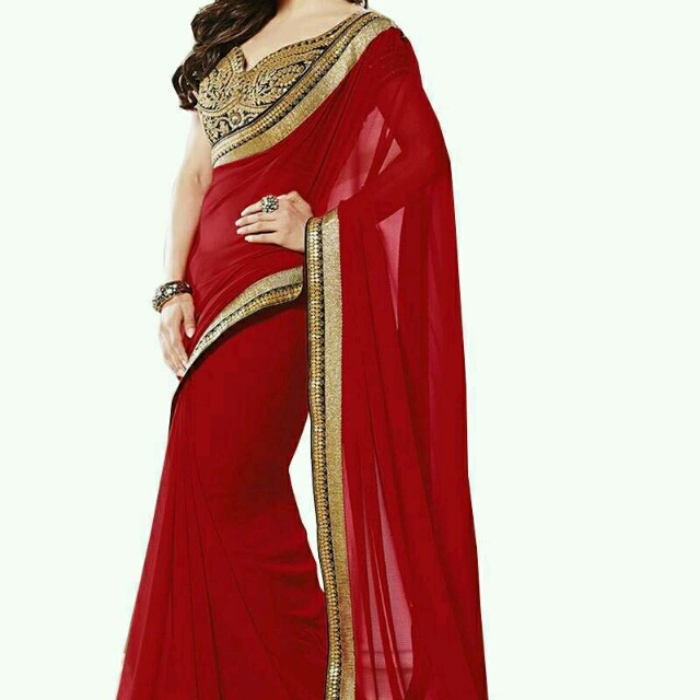 Red saree with black desinger blouse