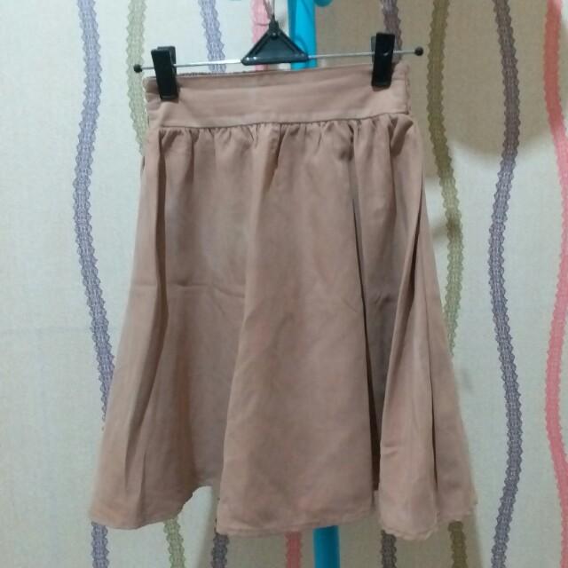 rok skirt cream flare murah
