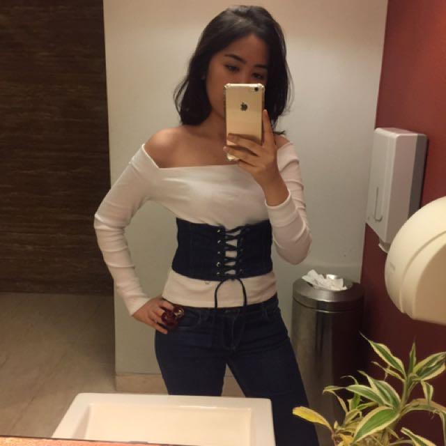 Sabrina putih zara + obi jeans zara (terpisah)