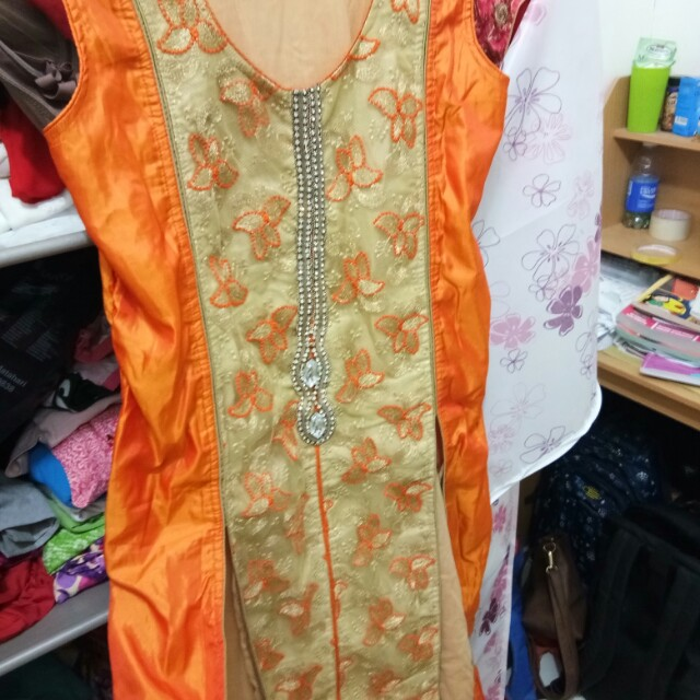 Set baju India gold orange