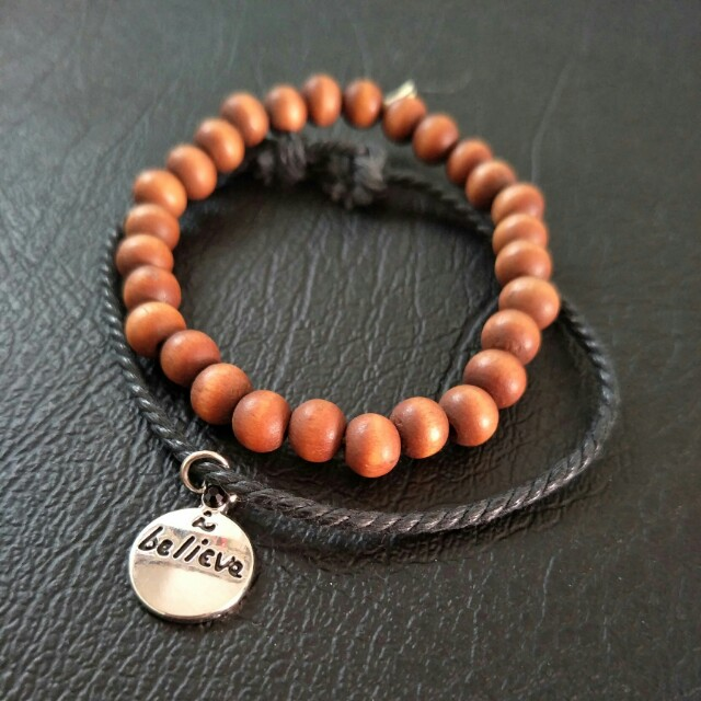 NEW Set of 2 Bracelets - Brown Beaded, String, Rope, Cord, Believe Charm, Inspirational, Gypsy, Unisex, Stretch, Adjustable