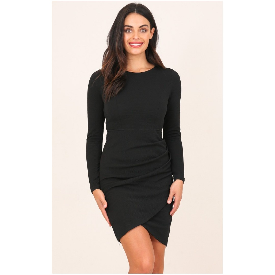 SHOWPO - NO RAIN FITTED BODYCON DRESS IN BLACK NEW IN PACKAGING SIZE 8