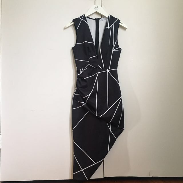 ST FROCK Black White Lined Party/Cocktail Dress 6