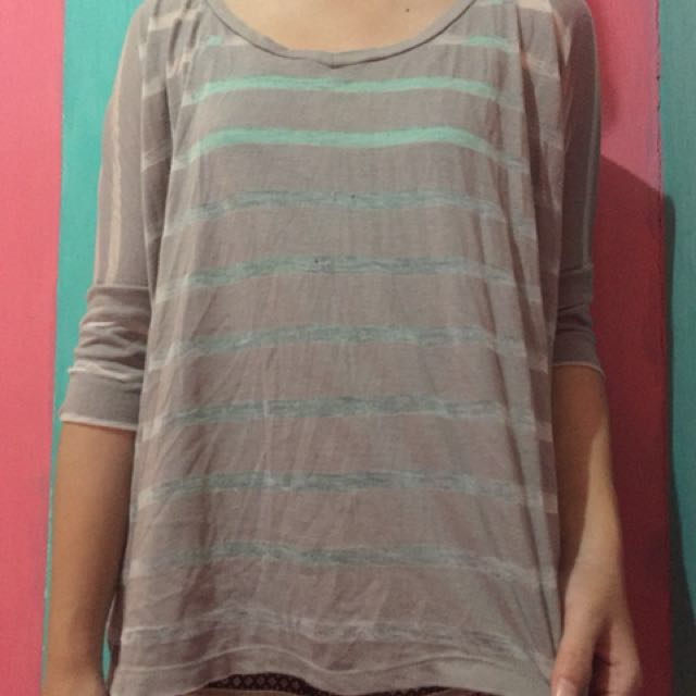Stripe blouse gray