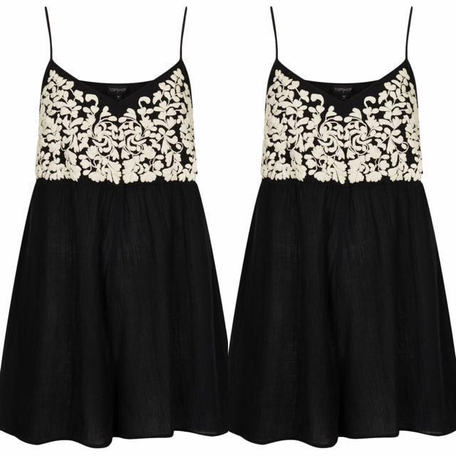 Topshop Embroidered Romper/Dress