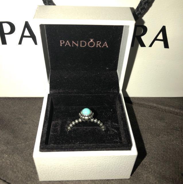 Turquoise Pandora Ring - 56 - Authentic