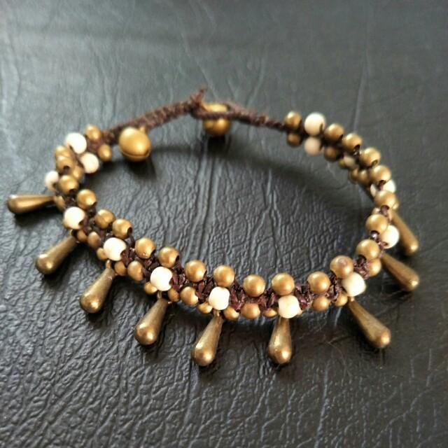 NEW Vintage Tribal Charm Bracelet - Bells, Dangle, Gypsy, Beads, String, Rope, Tarnished, Antique, Bronze
