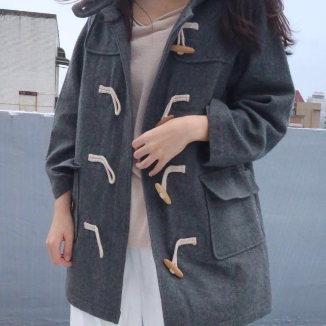 Vintage復古古著日本製RIO DE CENT經典灰色80%羊毛日系學院風寬鬆長版牛角釦大衣外套