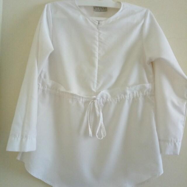 Wearing Klamby White Blouse