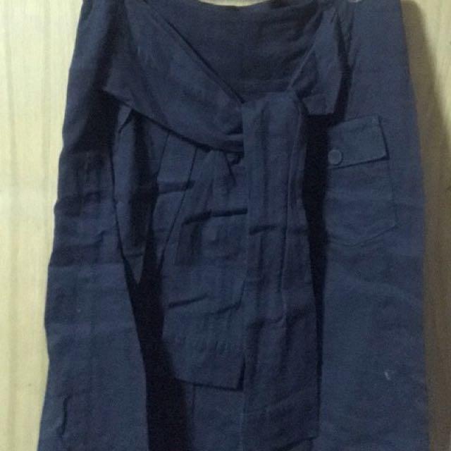 WHIPLE深藍色假袖子褲裙