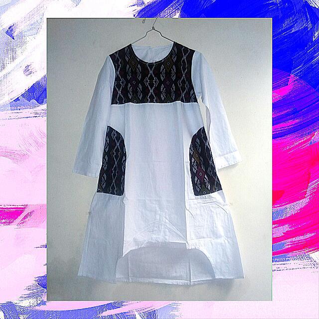 White Batik Long Blouse