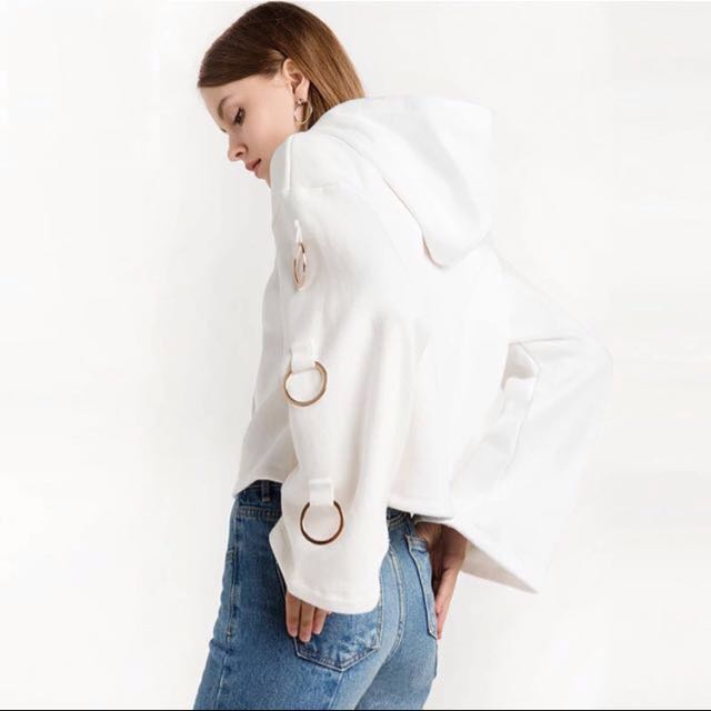 White Hoodie with Ring Sleeves