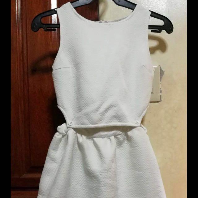 White Just G crop top dress